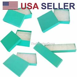 Teal Green Cotton Filled Gift Boxes Jewelry Cardboard Box Lots of 12 25 50 100 $27.99