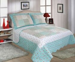 Restmor Quilted Bedspread Annie Patchwork Floral Design.(without Pillow cases)