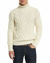 NWT$2.6k TOM FORD Sweater-LargeL4252-72%Cashmere+28%W-Fisherman's Cableknit