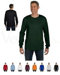 Hanes Mens Tagless 100% Cotton Long Sleeve T Shirt with a Pocket Tee S 3XL 5596 $17.64