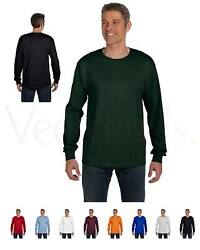 Hanes Mens Tagless 100% Cotton Long Sleeve T Shirt with a Pocket Tee S 3XL 5596 $12.59