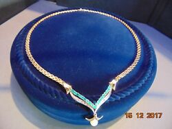 VINTAGE 18K GOLD NECKLACE DIAMONDS EMERALDS PEARL COMBINATION 17.7 in