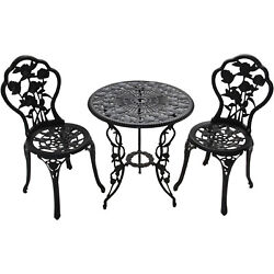 3-Piece Bistro Table and Chairs Set Outdoor Lounge Deck Patio Furniture Alum New