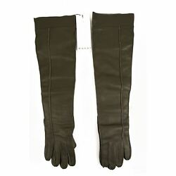 Marni Women's  Forest Green Leather Cashmere Lining Long Elbow Gloves sz 7.5 New