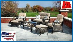Patio Furniture Clearance Set Conversation Wicker Loveseat Table Chairs Ottomans