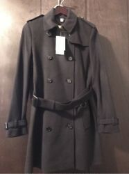 New Auth. Burberry Kensington Women Black Cashmere Coat Jacket 12 US 46 EU $1795