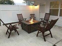 6 Pc Set Barlow Tyrie Teak Furniture Ascot Recliner Commodore Lounge Fire Pit
