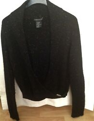 Theory Size M Black Cashmere Blend Crossover Top Sweater wGold