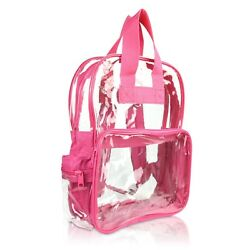 DALIX Clear Backpack School Pack See Through Bag in Hot Pink FREE SHIPPING