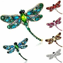Women Retro Crystal Dragonfly NecklaceBrooch Pin Pendant Long Chain Jewelry Hot