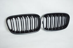 PH~ 2Pcs For BMW 1 Series F20 2012-2014 Double Slat Front Grille Matte Black ABS
