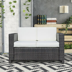 Deluxe 2 Seat Rattan Wicker Sofa Outdoor Patio Furniture All Weather Cushioned