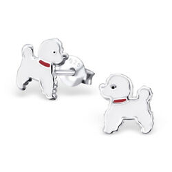 925 Sterling Silver White Dog Puppy Poodle Girls Stud Earrings Party Jewellery AU $9.95