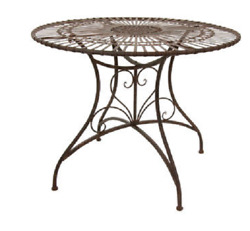 Rustic Outdoor Dining Table Patio Furniture Wrought Iron Round Indoor Patina New