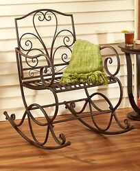 Outdoor Scrolled Metal Rocking Chair Porch Rocker Patio Seat Deck Decor -Rust