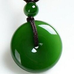 Chinese natural jade carved by hand round jade pendant Green