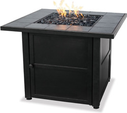 Small Propane Firepit Outdoor Table Gas Glass Heater Patio Deck Back 30000 BTU