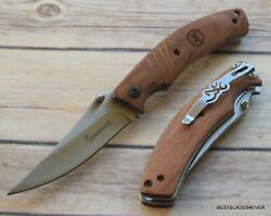 BROWNING WOOD HANDLE FOLDING KNIFE WITH POCKET CLIP BRAND NEW!!!
