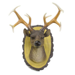 Faux Buck Deer Head Wall Decor Resin Bust Statue Wall Hanging Antlers Sculpture