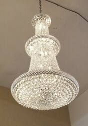 Brand New Chrome Finish Egyptian Crystal Chandelier 36