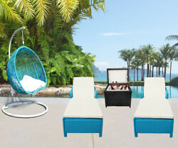 4PC Outdoor Patio Wicker Furniture #5 Egg Shape Swing Chair Sun Bed Storage Box