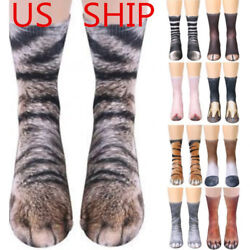 USA 3D Printed Animal Paw Crew Socks Unisex Women Men Novelty Cotton Socks $5.39