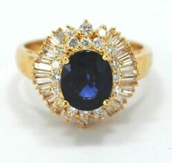 BEAUTIFUL MAYORS JEWELRY RING 18K. GOLD BLUE SAPPHIRE AND DIAMONDS