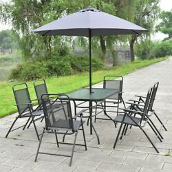 8Pcs Patio Garden Set 6 Folding Chairs and Rectungular Table with Umbrella Gray