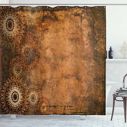 Tan Shower Curtain Aged Texture Vintage Floral Print for Bathroom 70 Inches Long