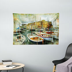 Italian Decor Tapestry Boats in Naples Print Wall Hanging Decor 60Wx40L Inches $27.99