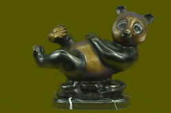 Hand Made Large Panda Bronze Sculpture Home Office Cabin Decor Lost WaxUG