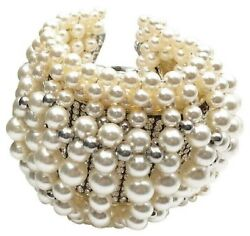 Chanel Runway Chunky Faux Pearl Crystal Leather Bracelet
