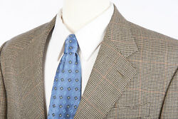 Mens Cashmere Blazer Sz 42 L by ISAIA in Brown Houndstooth Italian Sport Coat