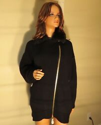 NWT WOMEN AUTH BURBERRY BRIT BLACK WOOL CASHMERE LAMB FUR SWEATER JACKET COAT XL