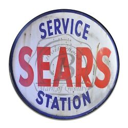 Sears Service Station Design Red White amp; Blue Reproduction Circle Aluminum Sign $16.25