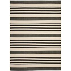 Safavieh Courtyard Stripe Black Bone Indoor Outdoor Rug (9' X 12')
