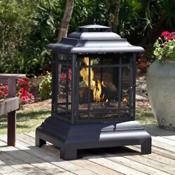 Outdoor Patio Fireplace Wood Burning Pagoda Steel Fire Pit Black With Cover