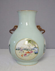 Chinese Monochrome Green Glaze With Famille Rose Porcelain Vase      M2026