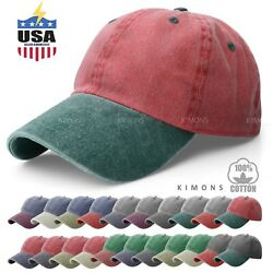 Pigment Dyed Baseball Ball Cap Washed 2Two Tone Cotton Vintage Hat Dad Summer $8.99