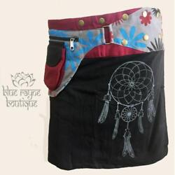 Dreamcatcher Snap Wrap Skirt Festival Utility Pocket Hippie Pixie Money Belt $39.00