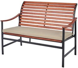 Outdoor Bench Patio Furniture With Cream Cushion Removable Slip Cover Espresso