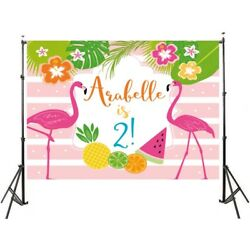 Flamingo photography backdrop birthday party banner children background $12.19