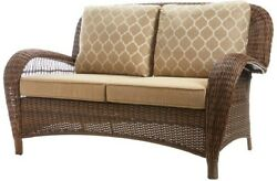 Outdoor Loveseat Patio Furniture W Toffee Cushions Removable Slip Cover Wicker