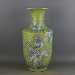 China antique porcelain Qing kangxi green glaze famille rose bird shiliu vase