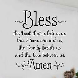 BLESS THE FOOD BEFORE US AMEN Kitchen Dining Home Wall Decal Vinyl Words 8 x 10quot; $8.95