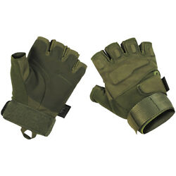 MFH Protect Tactical Fingerless Gloves Paintball Leather Grip Mittens OD Green $27.95