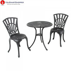 River Cottage Gardens PB601BLK Black Cast Aluminum Bistro Table and Chairs...