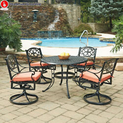 Biscayne Black Round 5 Pc Outdoor Dining Table & 4 Swivel Rocking Chairs...
