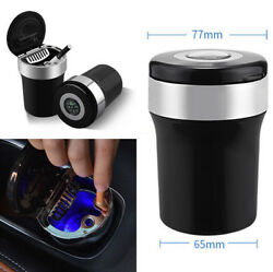1PC Black Metal & Plastic Auto Car Ashtray Blue Led Indicator Light with Compass