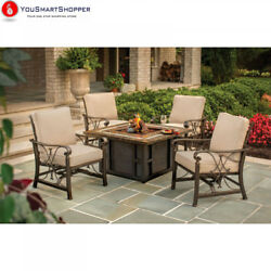 Oakland Living Goldie Gas Firepit Table with Four Cushioned Spring Rocking...